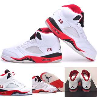 Nike Air Jordan 5 Retro. White,fire Red, Black. Size: 9.5. 100% Authentic & New