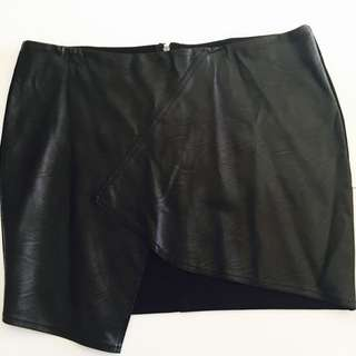 New Without Tags Ally Fashion Asymmetrical Hem Leather Mini Skirt Size 16