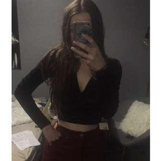 Long Sleeve Black Felt Top