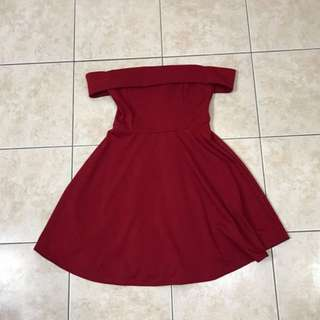 Formal Red Off The Shoulder Dress