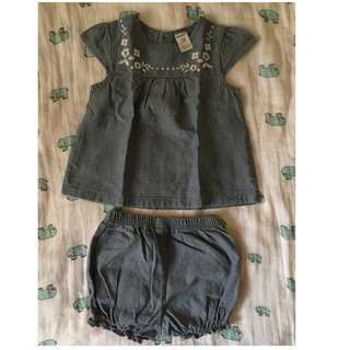 Baby Girl Dress Top and shorts for 18mo