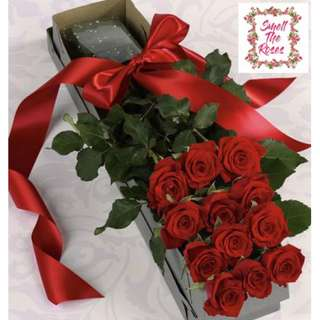 """I want you to be mine"" Romantic 12 Stalk Luxury Rose Box with Ribbon + FREE DELIVERY in Klang Valley"