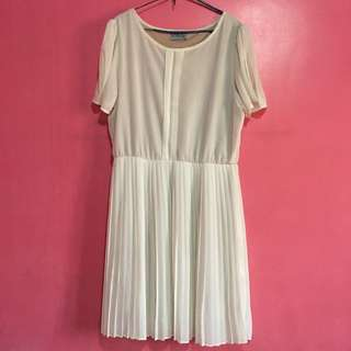 Off White Pleated Dress