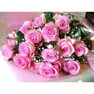 Layer pink roses with small flowers bouquet