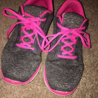 Grey And Pink Runners Joggers Sneakers Size 9