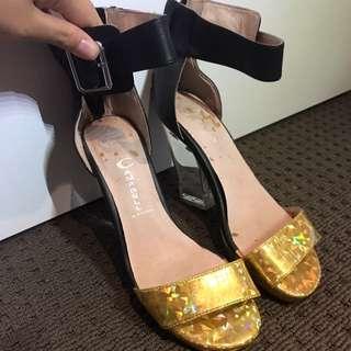 Jeffrey Campbell gold glitter heels