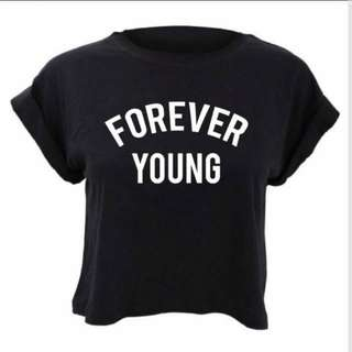 #blackfridaysale forever young black crop top