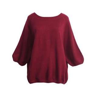 *SALE* *100% Imported from Taiwan* Contrast Colour Trim Bow Tie Back Knit Top (Maroon)