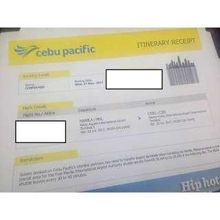 Ticket:  Manila to Cebu , Cebu to Manila