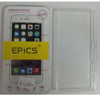 SONY Z5+ 手機鋼化玻璃貼和超薄軟套 (高清防水、防油、防指紋)