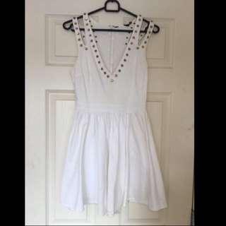White Dress, Gold Studs