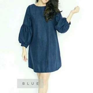 Mini Dress Navy Blue Lengan Puffy