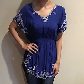 Dress Bali Bordir Biru