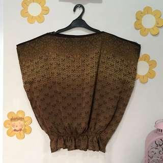 Batik Top Sheer Brown