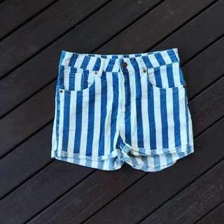 H&M Striped High Waisted Shorts