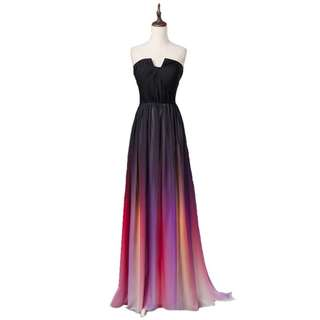 Ombré Black Chiffon Long Strapless Bridesmaid Dress With Pleated Bodice Panel Watteau Train MS010