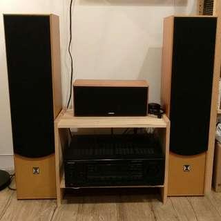 BOK家庭劇院三件式音響+ KENWOOD 5.1 聲道 擴大機