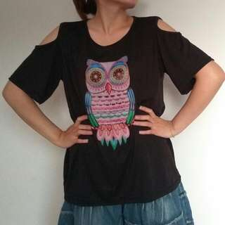 Owl Cold Shoulder Shirt Blouse