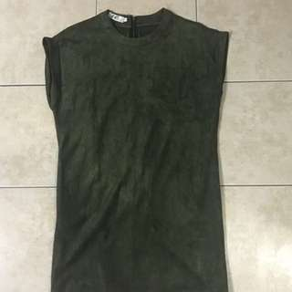 OLIVE DARK GREEN SUEDE VELVET T-SHIRT DRESS