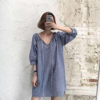 V領格紋襯衫 連身裙