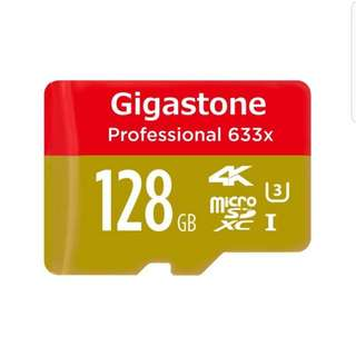 Gigastone Pro 128GB or 256 gb Micro SD Card U3 4K up to 95MB/s Memory + SD Card Adapter