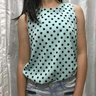 Baby Blue With Polkadots Sleveless Top