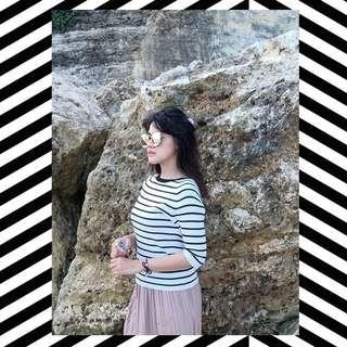 zara knit stripes black & white