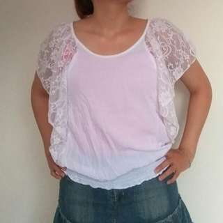 White Blouse Putih Renda Lace Batwing