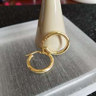 18K750 White/Yellow Gold                15mm Loop Earrings               ❤ NEW❤Italy Gold          18K750 白/黄金耳圈耳環 15mm