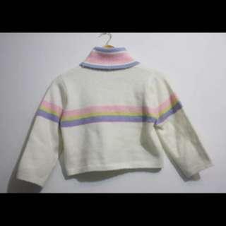 彩色條紋高領短版毛衣