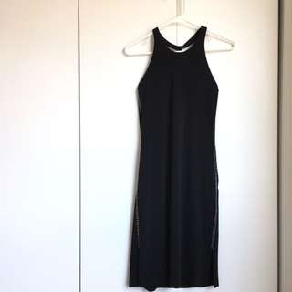 Size S Black Sexy Bodycon Halter Dress With Side Slide And Crystal On Side Like New