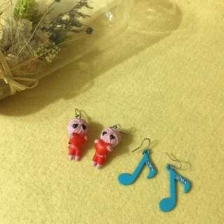 造型可愛耳環(巫毒娃娃+音符)