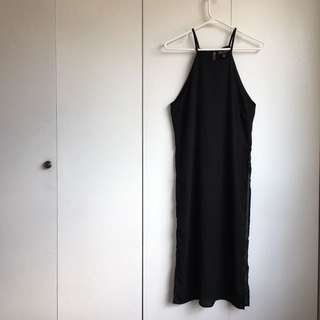Size m Black Flowy Summer Sleeveless Dress With High Side Skids