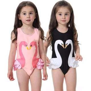 [Ready Stock] Baby Kids Children Girls Flamingo Swan Swimsuit Bikini Swimwear