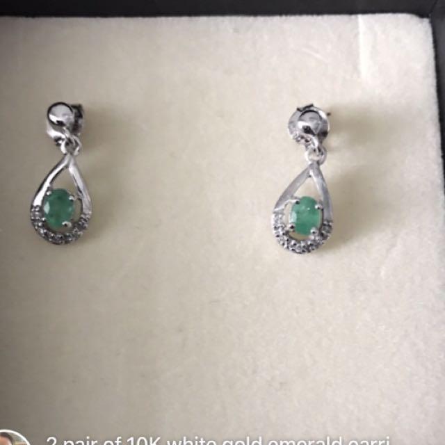 2 Pair 10K White Gold Emerald Earrings