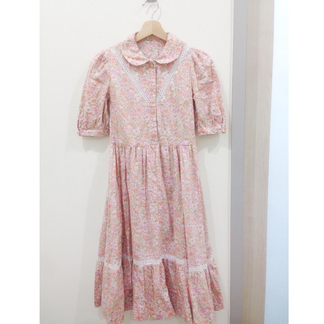 🎈古著。50s粉色碎花少女古著洋裝