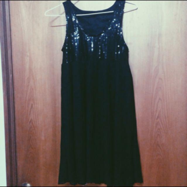 亮片無袖黑洋裝