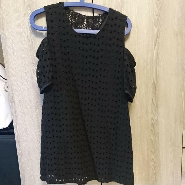 韓國緹花圓點黑色小洋裝