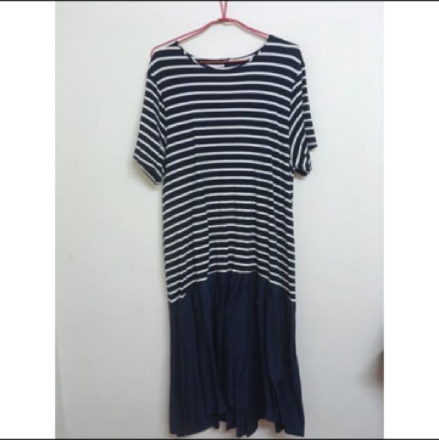 條紋拼接傘裙洋裝