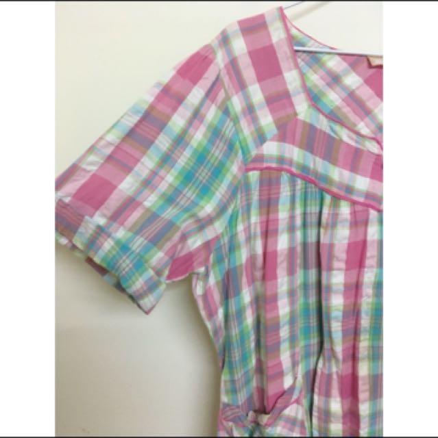 古著粉嫩格紋寬鬆洋裝