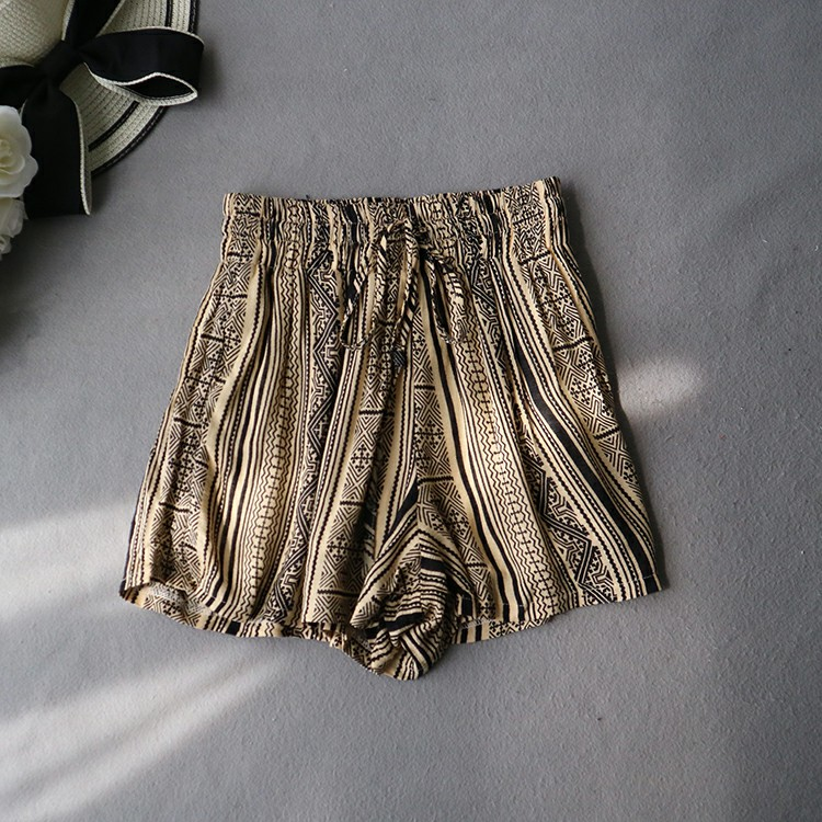 民族風清涼復古印花鬆緊腰短褲
