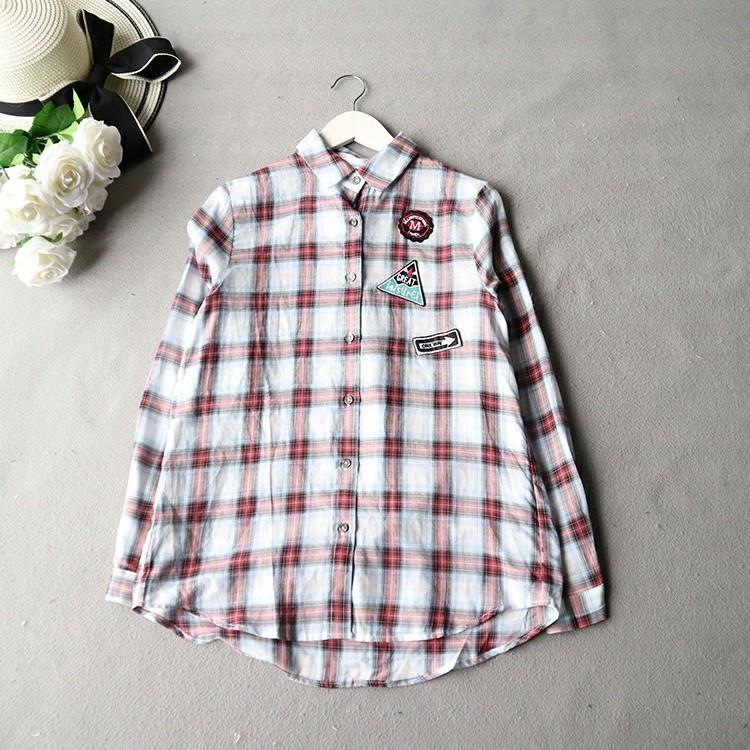 棉麻格紋防曬薄款襯衫