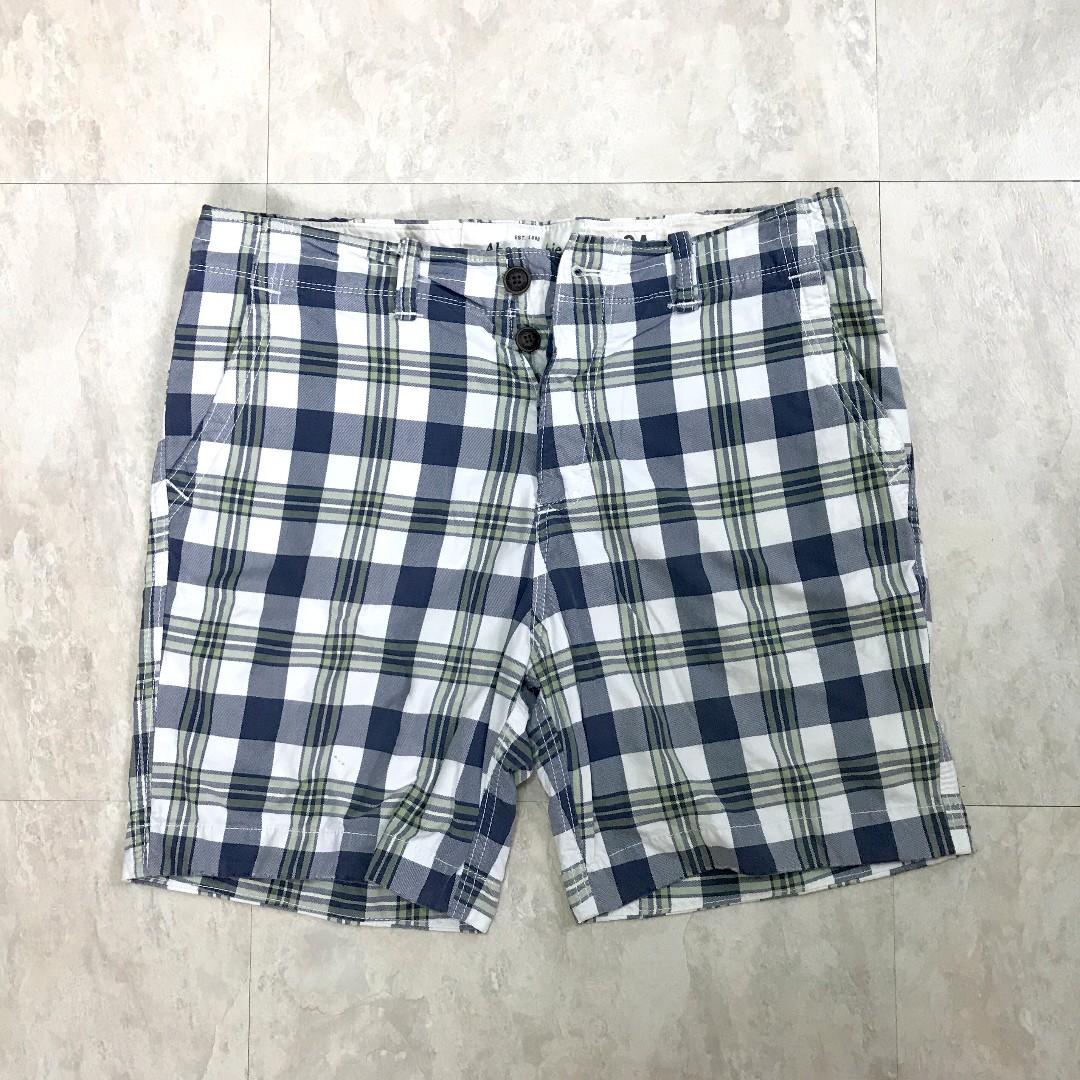 A&F 格子短褲 (藍/綠)