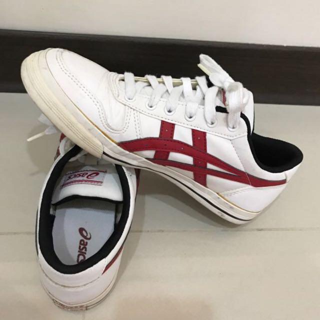 👟asics白底紅標休閒鞋👟