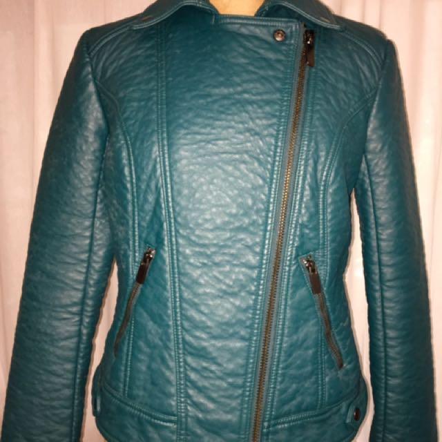 Asos Women's Leather Look Green Biker Jacket
