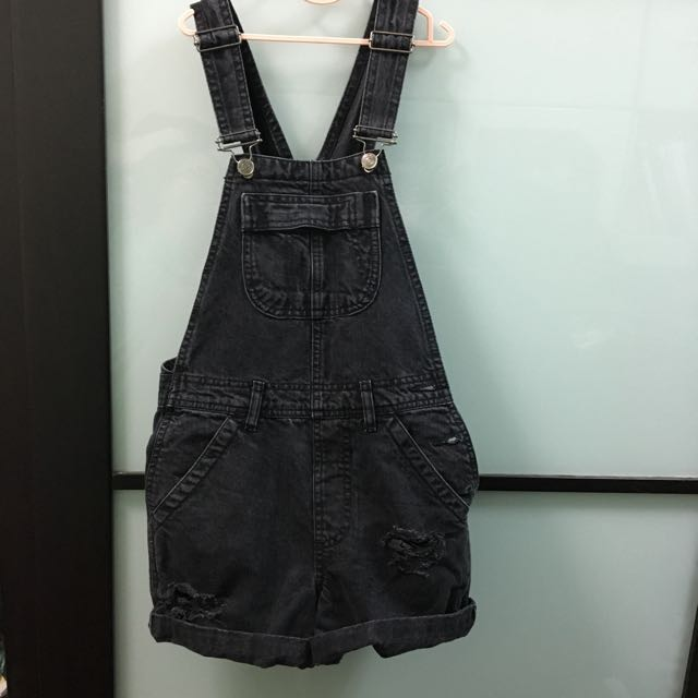 Authentic Topshop Distressed Ripped Denim Jeans Dungaree Overall Shortall Pinafore Romper Playsuit Jumpsuit