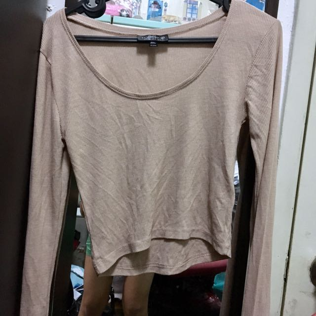 Authentic Topshop Dusty Pink Nude Ribbed Crop Top Tee Shirt Blouse