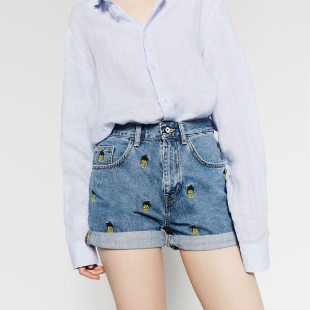 Authentic Zara High Waisted Pineapple Embroidered Denim Shorts