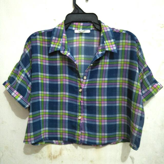 Baju Kemeja Crop Top