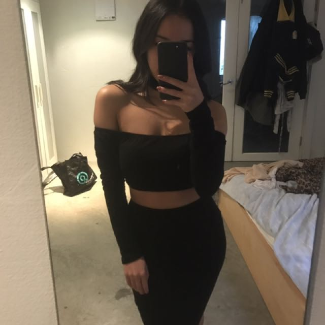 Black Cut Out Off Shoulder Choker Dress